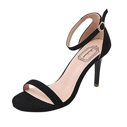 Sandalen Damen Mode Ankle Casual Peep-Toe High Heels Block Party Offene Spitze Schuhe Römischen Sommer Freizeit Elegant Sandalette Strand (34, Schwarz)