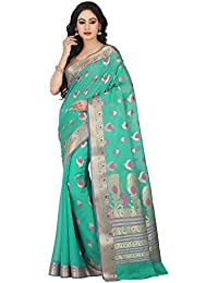 Platinum Green Color Zari Work Kosa Silk Saree With Blouse Piece
