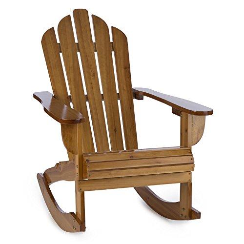 blumfeldt Rushmore Schaukelstuhl • Schwingstuhl • Adirondack-Stuhl • witterungsbeständig • Tannenholz • hohe Rückenlehne • breite Armlehne • Tiefe Sitzfläche • 71 x 95 x 105 cm • max. 150 kg • braun
