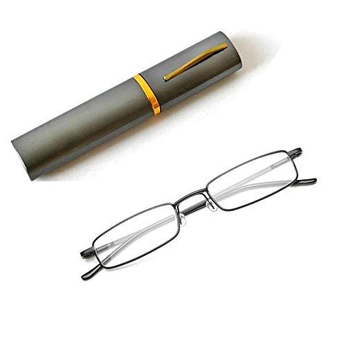 Flexibel Metall Lesebrille Sehhilfe Federn-Scharnier Lesehilfe Unisex Lesegerät mit Brillenetui wie Stifthalter(Gewehr,+1.5)