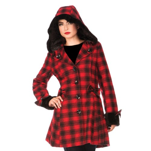 Jawbreaker Kurzmantel PLAID COAT JKA3823 red-black Red-Black