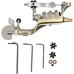 Máquina de tatuaje para trazador de líneas y sombreador, Máquina rotativa de tatuaje de niebla secante, Equipo de tatuaje de una máquina de tatuaje de motor de hierro premium(marrón)