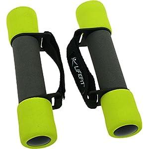 Lifefit Gewichtsmanschetten Weich Schaum Hantel mit Softband Aerob und Turn- Gewichte, Schwarz/Hellgrün, 2 x 0.5 kg, F-CIN-SP01-01