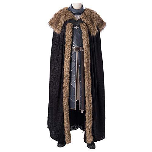 QWEASZER Game of Thrones 8 Jon Snow Kostüm König im Norden Cosplay der Männer Mantel, Weste, top, Hosen, Schuhe Halloween-Abendkleid Film Kostüm Requisiten Deluxe Edition,Black-XXL -