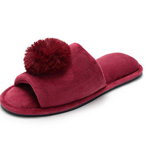 TININNA Sandales d'hiver,Pantoufles Chaussons en Coton Chaud Hiver Intrarieur Anti-Derapant Pom Poms Shoes Chaussures House Slipper pour Femmes Fille Rouge M