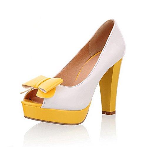 Balamasa da donna, a punta aperta, in colori assortiti, pompe, motivo scarpe con tacco Yellow