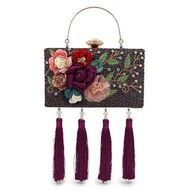 pwne L. In West Frauen'S Mode Handgefertigte Perlen Set Schnecke Abendessen Tasche Schwere Quasten Handgepäck. Purple
