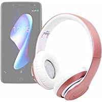DURAGADGET Auriculares Plegables inalámbricos en Color Rosa para Smartphone BQ Aquaris VS, BQ Aquaris VS