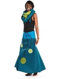 - Jupe longue ethnic bulb bleu vert coton doux du Nepal -