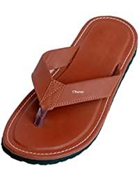 Charan Collections Men's Brown Outdoor Leather Look Slippers, House Slippers, House Flip Flops, Casaul Slippers...