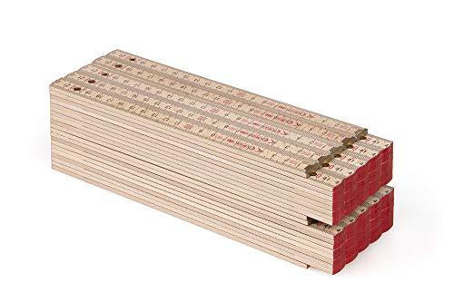 MetrieTM BLOCK 72 Zollstock/Zollstöcke - Gliedermaßstab | Maßstab - 2m - Natur Buche - Duplex Teilung, Hergestellt in der EU - 10 stück