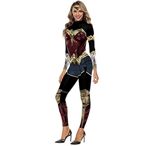 Yujingc Cosplay Kostüm Wunderfrau Kostüme Overalls für Onesies Superheld-Weihnachtshalloween-Bodysuit der Gerechtigkeits-Liga,B,XL (Superhelden Onesies Für Babys)
