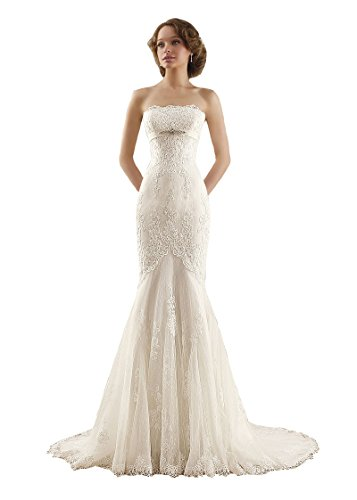 Irendress Damen Strapless Spitze Applique Perlen Lace Up Fischschwanz Hochzeitskleid Elfenbein 44 (Strapless Kleid Meerjungfrau)