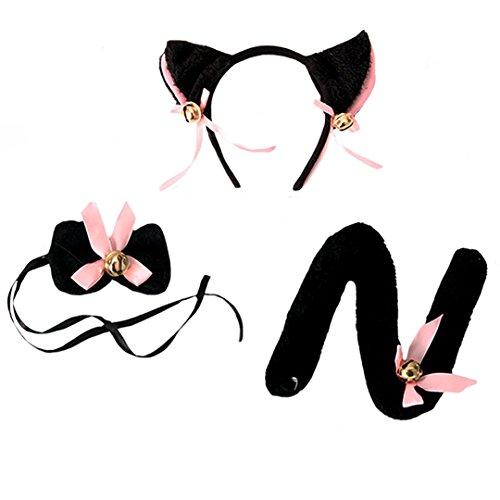 Aisi Katzen-Kostüm: Set aus Haarreif mit Ohren, Schleife, Schwanz cosplay Tierkostüm Costume-play schwarz (Kostüme Schwanz Schwarzen)