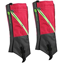 1 Par De Botas Polainas Nieve Impermeable Legging Pierna Cubre Robusta Escalada Senderismo Caminar Al Aire Libre - Rojo Gris