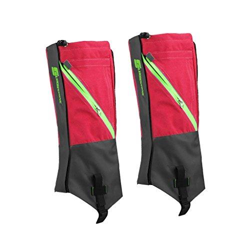 1 Paar wasserdichte Schnee Legging Boot Gamaschen Bein umfasst robuste Outdoor Wandern Wandern Klettern (Rot Grau) Robuste Outdoor-boot