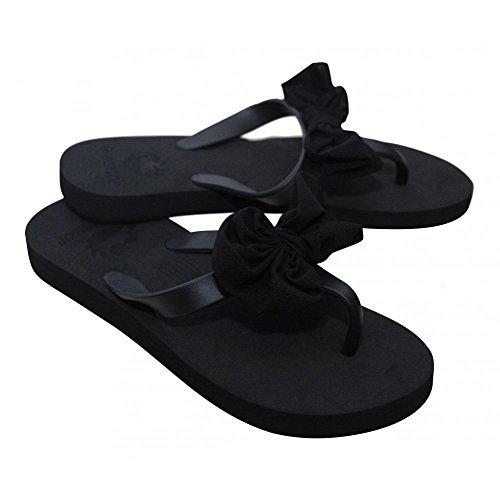 Damen Chiffon Schleife Sandalen Dunlop Damen Slipper Toe Post Zehentrenner Beach Schuhe Schwarz