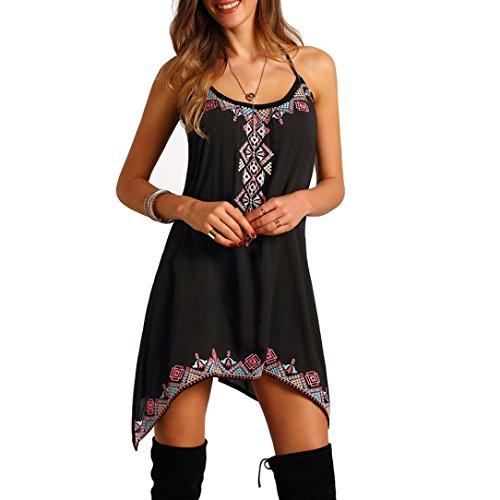 Elecenty Damen Ärmellos Sommerkleid Rock Strandkleid Irregulär Kleider Drucken Frauen Mode Kurz Knielang Kleid Minikleid Kleidung (M, Schwarz) Chiffon Kurze Kleid Rock