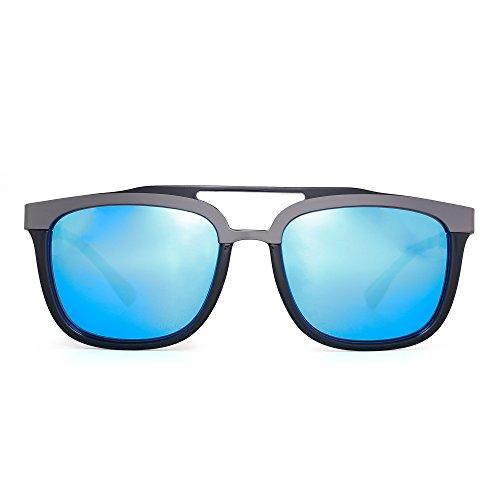 JIM HALO Designer Rechteck Sonnenbrille Doppelbrücke Edelstahl Browline Dame Herre(Schwarz/Blau)
