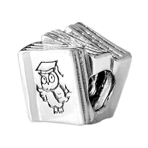 MATERIA 925 Silber Charms Anhänger Buch mit Eule für Bead Armband Kette mit Geschenk-Box #67