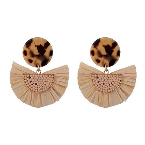 ge Mode Ohrstecker Vintage Bohemian Knit Sour Cream Raffia Intarsien Reis Perlen Schmuck ()