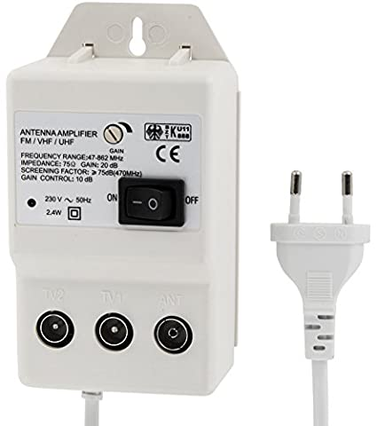Digital Antennenverstärker für 2 Geräte - UHF 20dB - VHF 36dB - 0-900 MHz - geeignet für Kabel-TV DVB-T Sky