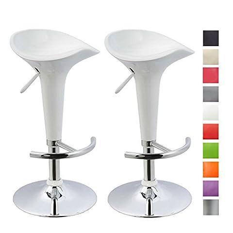 Tabouret de bar Lot de 2 Blanc en plastique sélection de couleur réglage en hauteur Duhome 103