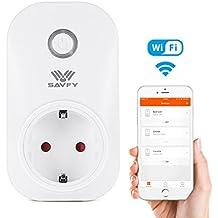 Enchufe inteligente WiFi, SAVFY Smart Plug Inteligente Wi-Fi inteligente toma de corriente interruptor domótica Compatible con Amazon Alexa–Pas besoin de Hub