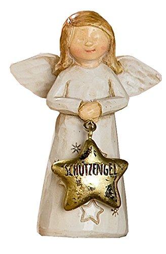 GILDE Dekofigur Weihnachtsengel Schutzengel, braun beige gold, 3,5x6x8,5 cm