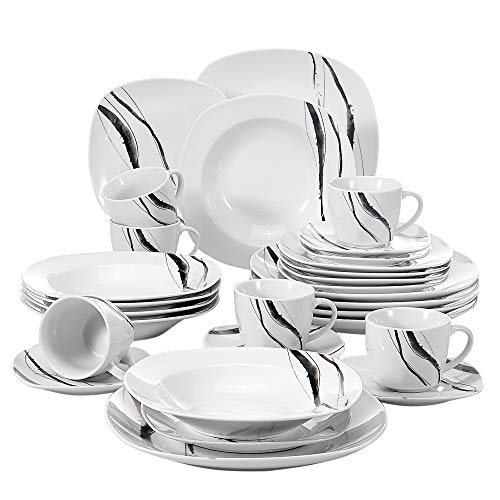 Veweet TERESA 30pcs Service de Table Porcelaine 6pcs Assiette Plate/Assiette à Dessert/Assiette Creuse/Tasse avec Soucoupes pour 6 Personnes Vaisselles Céramique Design Moderne Ligne Noir