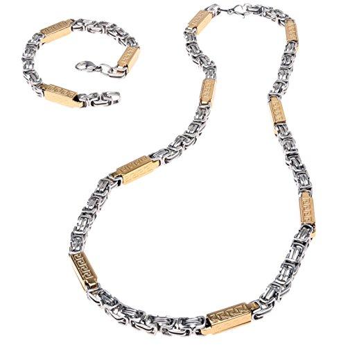 Edelstahl Armband Halskette Link Königskette Set...