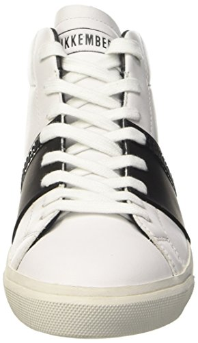 BIKKEMBERGS Damen Rubb-Er 752 Mid Shoe M Leather High-Top Bianco (White/Black)