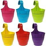 TRUPHE Polypropylene Plastic Hanging Hook Flower Pot, Multicolour, Pot Diameter-5.25 Inch, Pot Total Height-10.5 Inch approx.