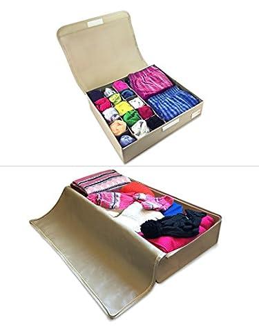 Tiroir de Lit + Organisateur Sous Vêtements - Rangement Chambre Pratique. Boîte Rangement Tissus 4 compartiments et Housse Vêtements Adulte et Enfant, Chaussettes, Chaussures, Cravates, Soutien-gorges