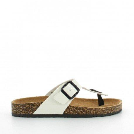 Ideal Shoes - Nu-pieds vernis style orthopédique avec ceinturon Konrad Blanc