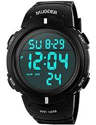 Mudder Hombres Deportes 5ATM Buceo Impermeable Blacklight Digital Moda Militar Relojes Multifuncionales