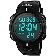 Mudder reloj deportivo digital para hombre, estilo militar, sumergible a 5atm, multifuncional, moderno