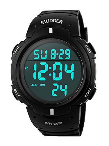 Mudder Homme Sport 5ATM Waterproof Digital Militaire Multifonctionnel Plongée Montre Mode
