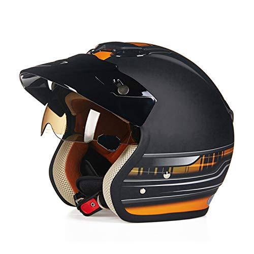 Wuxie Motorradhelm, DOT-Zertifizierung, männliche und weibliche Harley Retro Jet Helm, Open Face Motorradhelm mit Brille Visier Four Seasons Universal,Orange,L