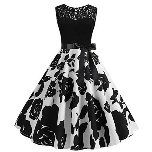 Sonijie Women Vintage Sleeveless Lace Splice Print Lässige Abendgesellschaft Prom Swing Dress