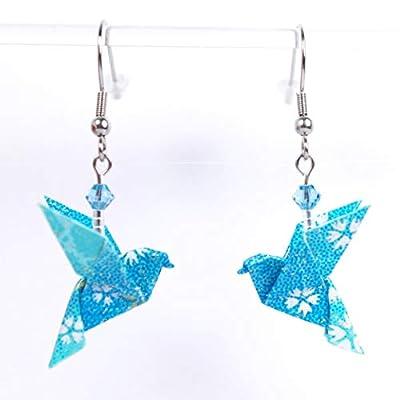 Boucles d'oreilles colombes origami turquoises avec des petites fleurs blanches - crochet inox