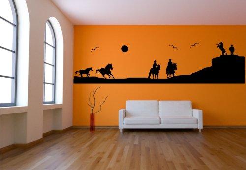 Wandtattoo Western Wilder Westen, reitende Cowboys auf Steppe - freie Farbwahl original Stickerkoenig - Groesse: 200x48cm