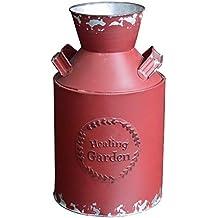 lechera en Porcelana blanca. Hogar y Mas Macetero Decorativo Vintage de Metal Rojo para Interior/Exterior. Original en