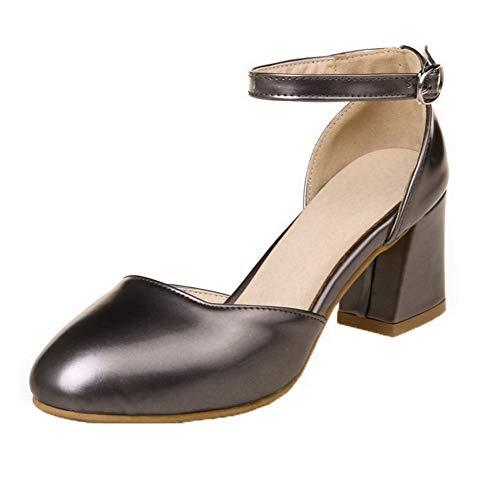 AgooLar Damen Schnalle Blend-Materialien Schließen Zehe Mittler Absatz Sandalen, Silber, 42