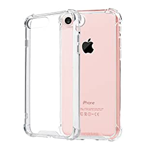 Coque iPhone 7 - TURATA iPhone 7 Coque Silicone Transparent Crystal Clear Case Soft Etui Housse Agréable Antichoc pour iPhone 7 PC+TPU 2 en 1 (Transparent )