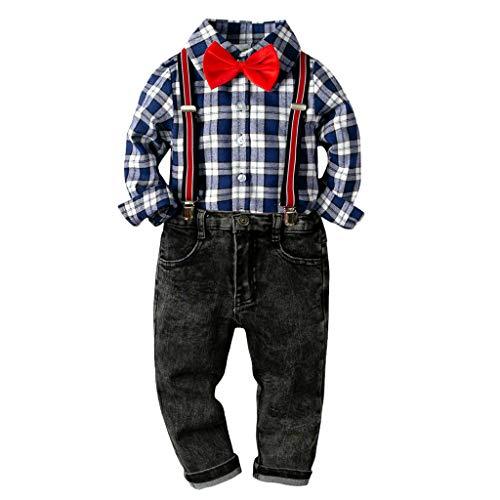 Gentleman Kinderanzug Allence Baby Jungen Bekleidung Set Hemd Hose mit Hosenträger Langarm Karierte Hemd mit Fliege Latzhosen 3-36 Monate