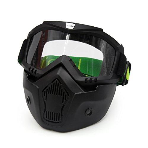 DealMux Motorrad-Schwarz-Plastikbrille Gesichtsschutzmaske abnehmbarer Mund Filter