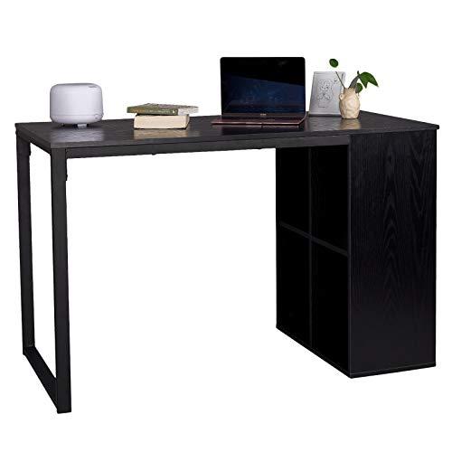 WOLTU® Schreibtisch TSG26sz Computertisch Bürotisch Arbeitstisch PC Laptop Tisch, in Melamin, mit 4 Ablageflächen, Gestell aus Stahl, 120x60x75cm(BxTxH), Schwarz -
