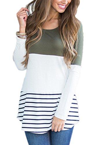 Summer Mae Damen Langarmshirt Sweatshirt Blusen Streifen Lace Lang Sleeve Herbst