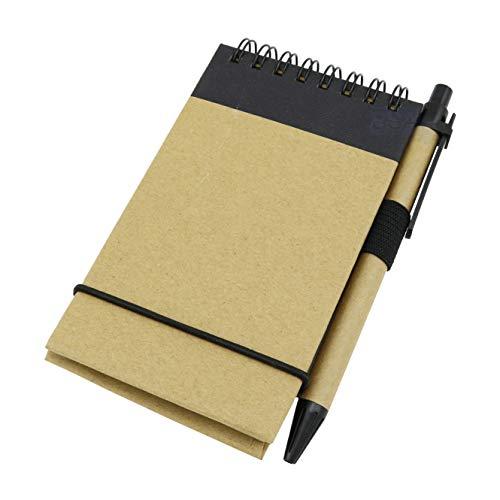 Blocco Note Colore AVANA Penna fogli 115 x 75 mm a righe 8 mm con elastico Note